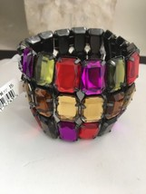 Joan Rivers Jeweled Stretch Bracelet Multicolor Wide Gunmetal NWT - ₨2,293.95 INR