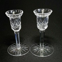 """2 (Two) Waterford Lismore Cut Lead Crystal 5"""" Single Light Candle Holders 16 Cut - $118.74"""