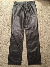 Nine West Women's Brown Leather Pants, Size 6 - $39.99