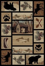 "8x10 (7'10"" x 9'10"") Lodge Cabin Bear Moose Pinecone Area Rug *FREE SHIP... - $239.00"