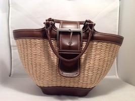 Great Condition Bath and Body Works Beige Brown Trim Purse Striped Interior