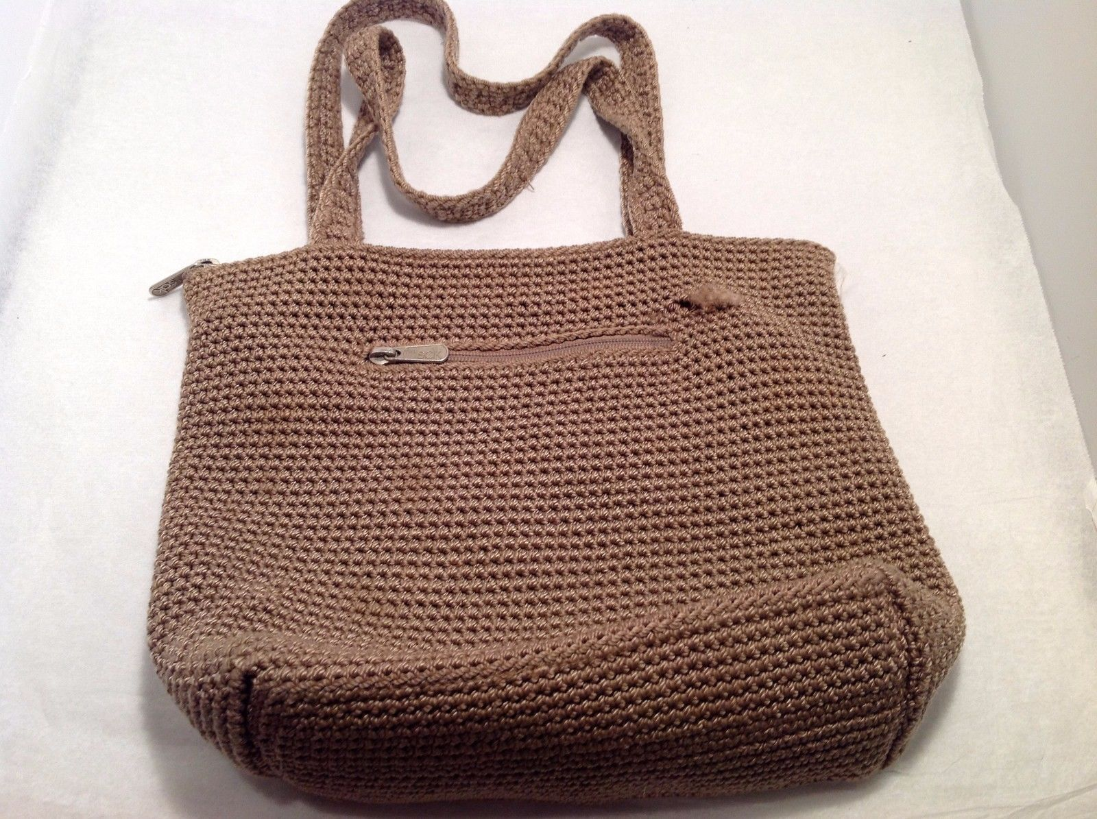 Good Condition The Sak Brown Purse Zip Pockets Frayed Minor Stain Inside