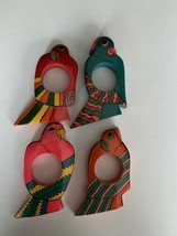 *Set of 4* Vintage Wood Colorful Bird Napkin Rings/Holders - Made In India - $14.84