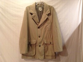 Great Condition Travel Smith Khaki Jacket Polyester Blend Minor Stain 6 Pockets
