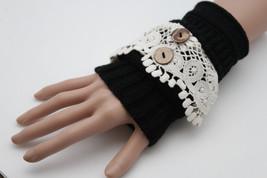 Women Pair Wrist Warm Gloves Cream White Lace Knit Black Stretch Fabric Slip On - $9.99