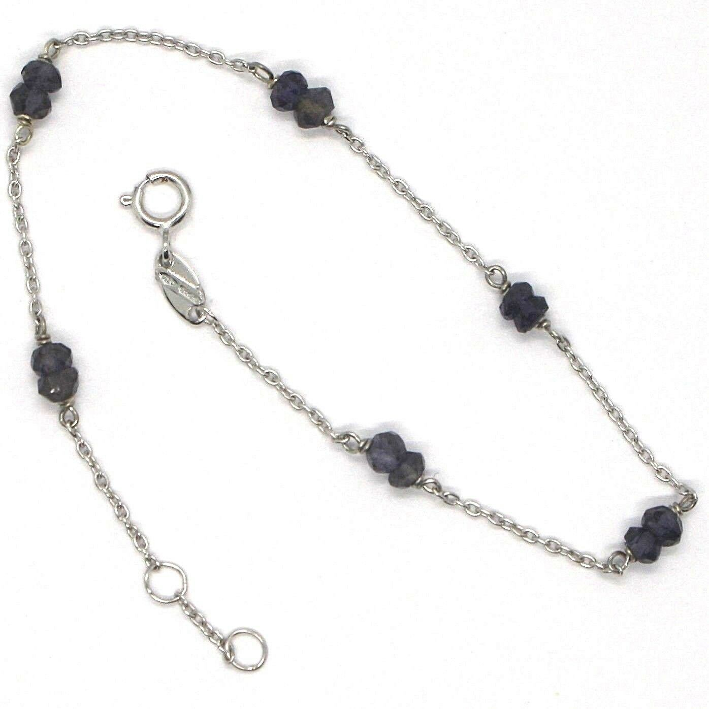 Bracelet White Gold 18K 750 with Iolite Blue, Faceted, Made in Italy