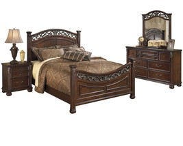 Ashley Leahlyn 4PC Bedroom Set E King Panel - Brown - $2,050.19