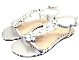Caleb-10 New Gladiator Floral Stone Flats Cute Sandals Party Women Shoes Silver - $12.59