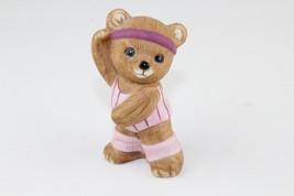 Vintage HOMCO Teddy Bear Figurine Aerobics Exercise Pink Leg Warmers 1448 - $7.92