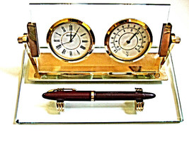 VTG SEIKO DOUBLE DESK SET CLOCK & BAROMETER BRASS & GLASS GORGEOUS EXECU... - $46.39
