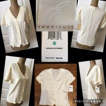 NEW! Emma James Ladies Top Sz 6 Button Front Cream Short Sleeves Retail ... - $9.89