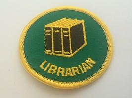 Librarian Merit Badge Boy Scouts Green Round Dark Brown Books Vintage BSA - $5.94