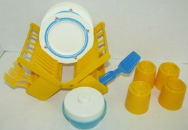 Fisher Price Fun with Food play vintage dish rack dishes lot cups flower... - $39.59