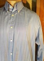 Michael Kors Men's Sky Blue Herringbone Button Up Cotton Long Sleeve Shirt Lg - $8.81
