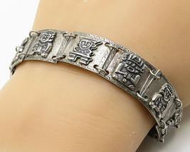 925 Silver - Vintage Antique Tribal Mayan Aztec Idol Gods Link Bracelet ... - $117.92