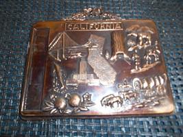 Old Vtg Copper Metal CALIFORNIA WALL PLAQUE Made Japan Travel Souvenir - $19.79