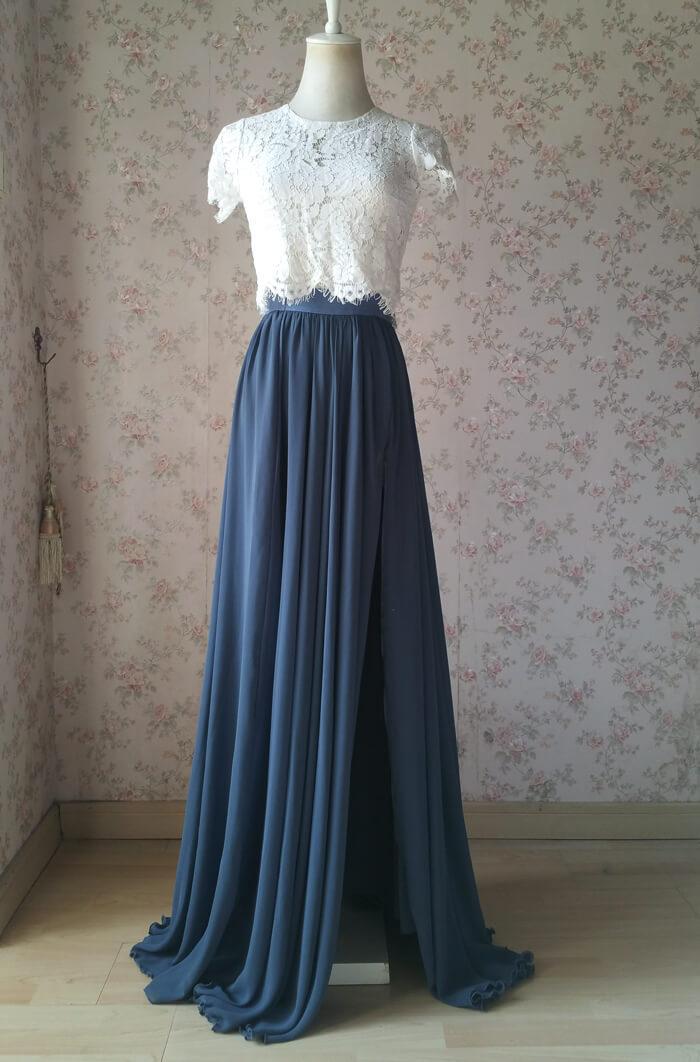Chiffon skirt slit dustyblue 3