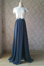 DUSTY BLUE Split Maxi Skirt Dusty Blue Bridesmaid Maxi Chiffon Skirt - £44.91 GBP