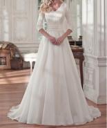 Elegant Tulle & Organza Satin V-neck Neckline A-line Wedding Dresses - $339.00