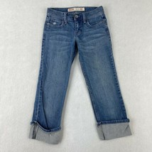 Mossimo Crop Denim Jeans Women's 1 Blue 5-Pocket Straight Low Rise Cuffe... - $18.95