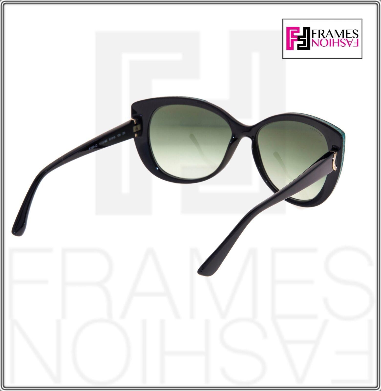 BVLGARI LOGO BV8169Q Black Green Leather Gradient Cat Eye Sunglasses Gold 8169 image 4
