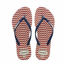 NWT Havaianas Womens White Navy Blue Zig-Zag Retro Slim Sandals Flip-Flo... - $16.82
