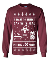642 I want to Believe Long Sleeve Shirt Ugly Christmas Sweater Alien Party UFO - $18.00+