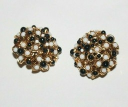Joan Rivers Signed Clip On Earrings Black White Gold Faux Pearls - $24.00