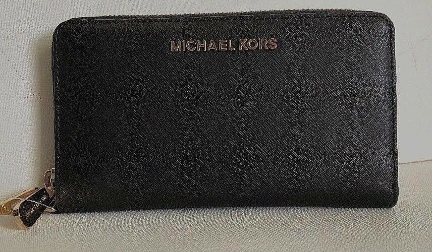 Primary image for New Michael Kors Jet Set Travel Large Flat MF phone case Leather Black