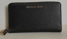 New Michael Kors Jet Set Travel Large Flat MF phone case Leather Black - $65.00