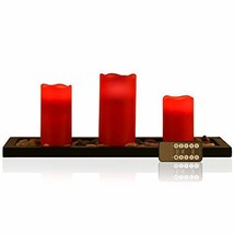 Red Flameless Candles Led Candle Gift Set of 3 Pillar Candles, (Red) - $34.69