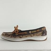 Coach Q1780 Richelle Monogram Logo Brown Signature Boat Loafer Flat Shoe... - $33.63