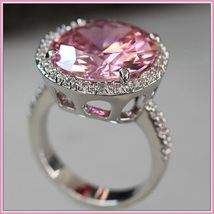 Pink Round Princess Cut Cubic Zirconia Crystal Encircled 925 Silver Plated Ring