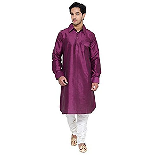 Primary image for Royal Kurta Men's Occassional Silk Blended Pathani Kurta 44 Purple
