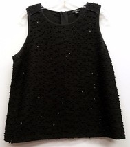 ANN TAYLOR Size L LP Petite Black Sequins Textured Sleeveless Shell Tank... - £17.28 GBP