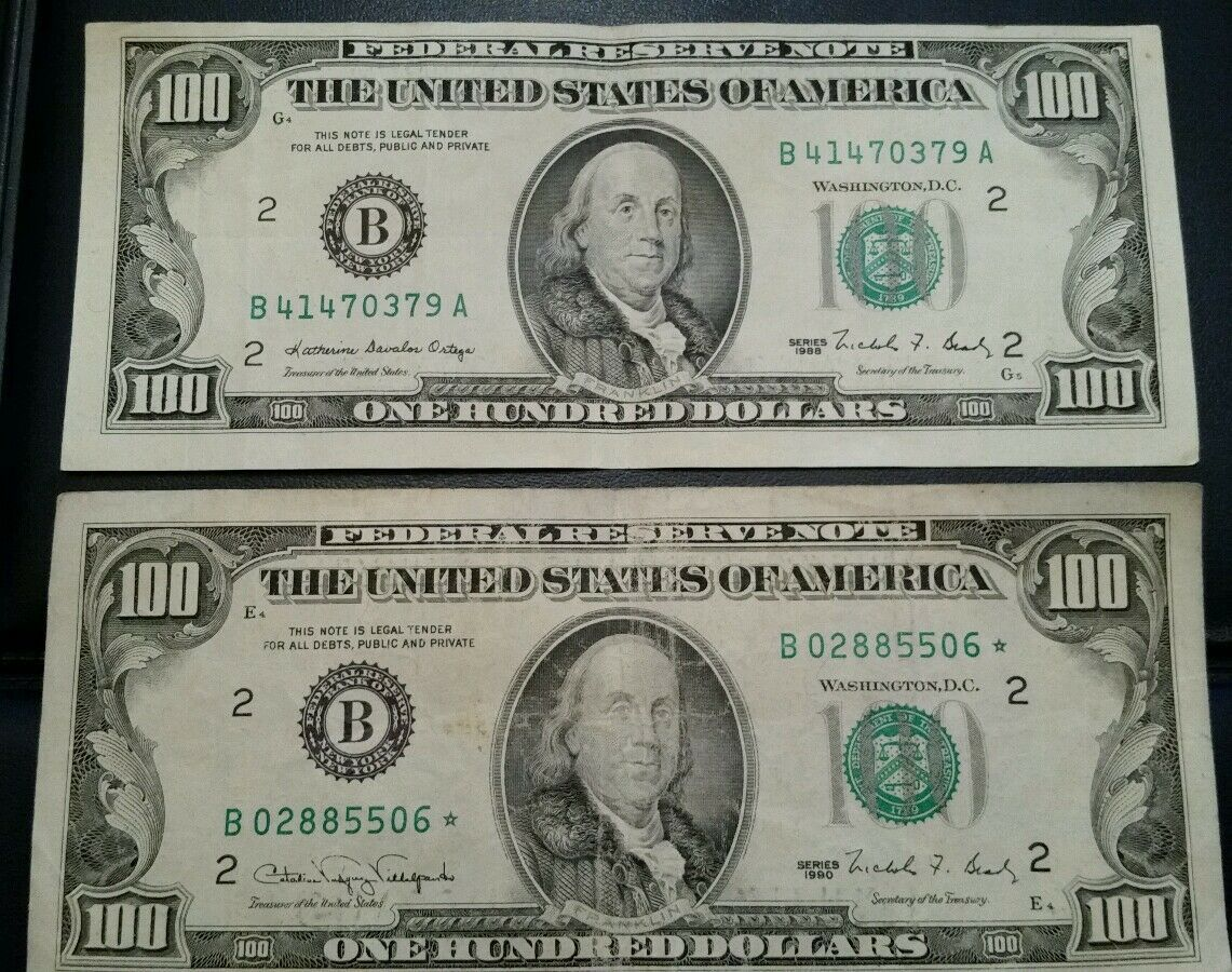 $100 TWO(2) Hundreds1990 and 1988 crisp  *STAR*NOTES FRN FEDERAL RESERVE NOTE