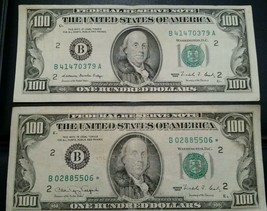 $100 TWO(2) Hundreds1990 and 1988 crisp  *STAR*NOTES FRN FEDERAL RESERVE... - $318.50