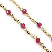 Bracelet or Jaune 18K 750, Cubic Zirconia Rouges, Sphères à Facettes, Rolo image 2
