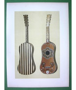 GUITAR Ivory Ornamented  Music Instrument - SUPERB Color Litho Print - $42.08