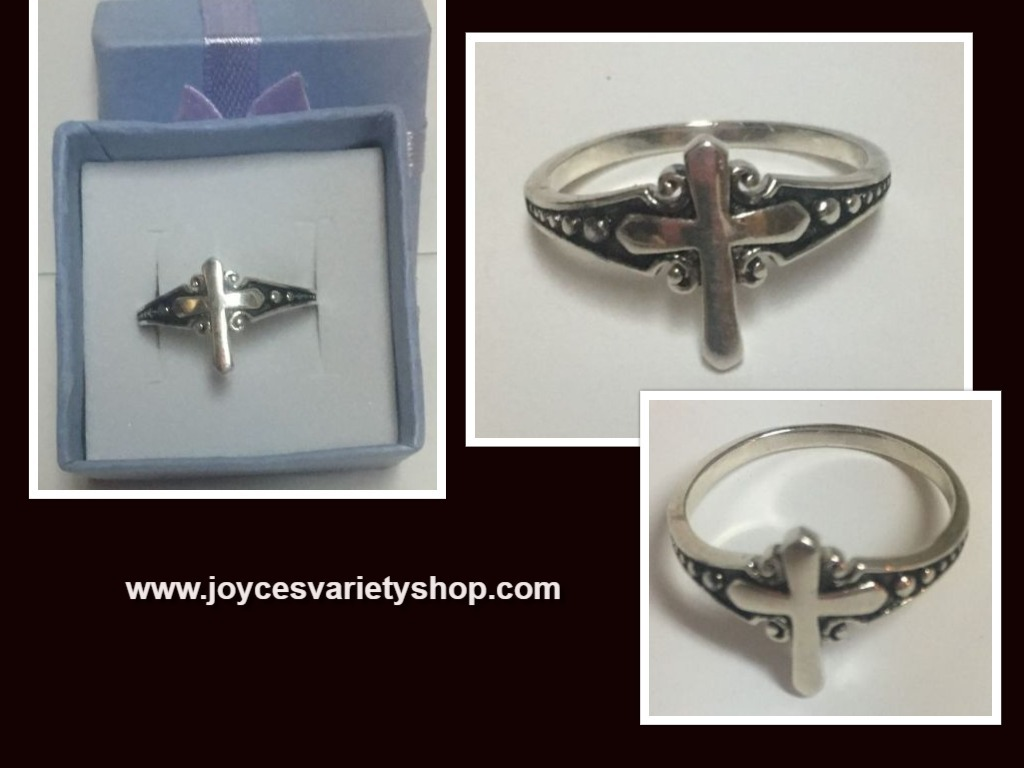 Cross sterling ring web collage