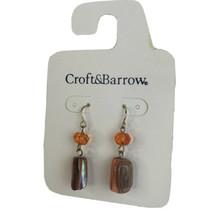 Croft  Barrow Elegant Earrings Brown Faux Pearl  Orange Crystal Fish Hoo... - $13.98