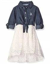 US Polo Assn. Little Girls Denim and Lace Dress, Vanilla, 5/6 - $13.54