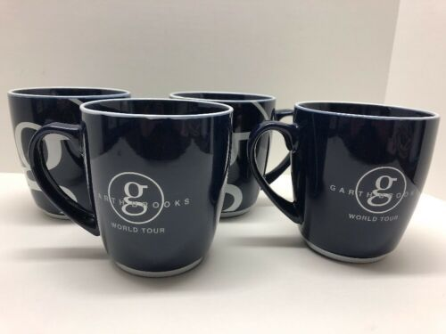 Primary image for Set of 4 Garth Brooks World Tour Coffee Mugs Cups Large Blue Country Music