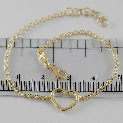 18K YELLOW GOLD BRACELET 7.10 INCHES WITH HEART, ROUND ROLO CHAIN, MADE IN ITALY