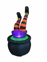 Halloween Inflatable Cauldron Witch Legs Blowup Air Blown Lights Yard De... - £39.58 GBP