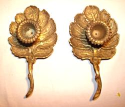 Antique/Vintage Solid Brass Leaf Shaped Candle Holders with Handle-Set o... - $29.00