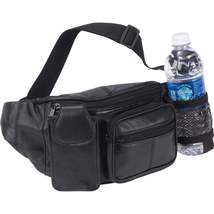 Embassy™ Black Solid Genuine Leather Waist Bag Fanny Pack W/ Bottle Holder  - $11.99