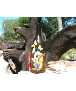 Old Amber colored wine bottle recycled art piece Signed bz - $64.99
