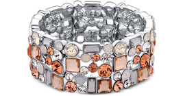 NWT Guess Silver Metal-Peach & Clear Rhinestone... - $24.74