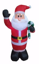4 Foot Christmas Air Blown Inflatable Santa with Candy Cane Yard Decoration - $45.00